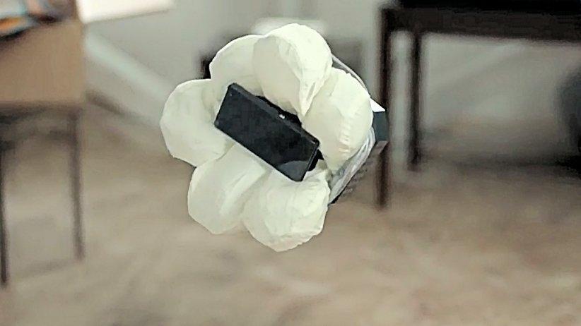 Honda's Smartphone Case N demonstrator after airbag deployment in midair (Photo: Honda)