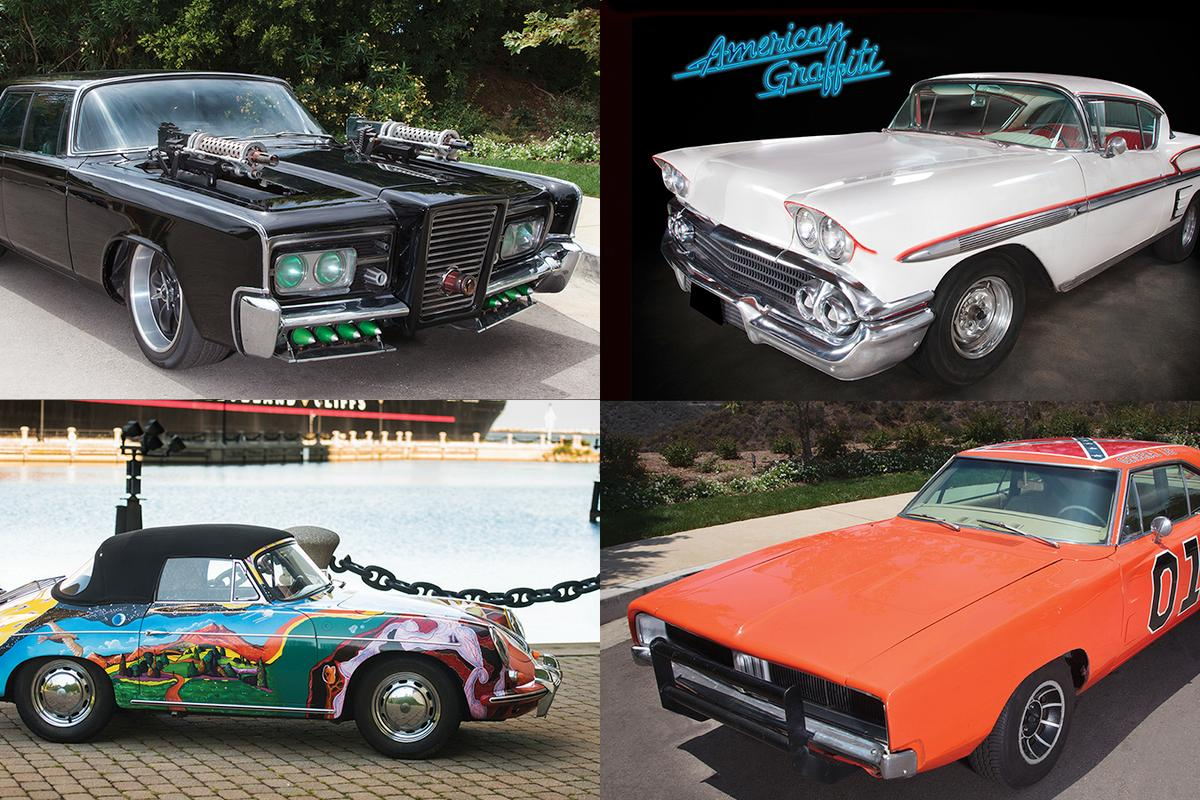 "From top left clockwise: 'Black Beauty' from ""The Green Hornet""; Steve's 1958 Chevrolet Impala from 'American Graffiti', 'General Lee' from 'The Dukes of Hazzard' TV series and Janis Joplin's 1964 Porsche 356 C 1600 SC Cabriolet"