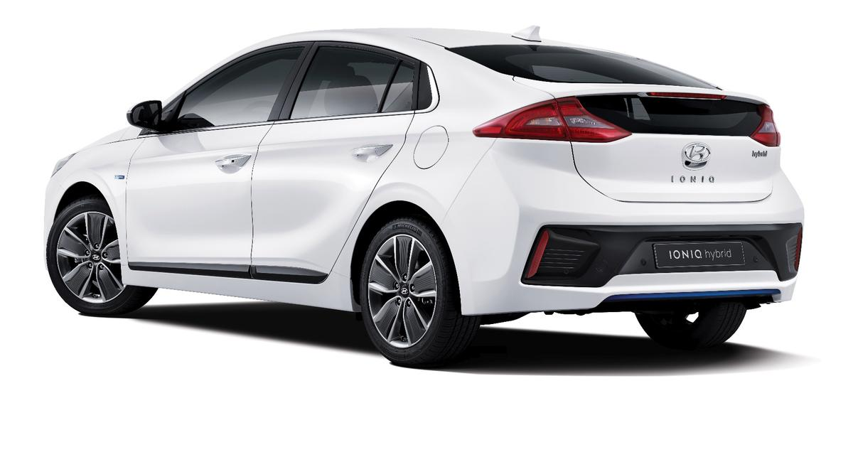 This angle from the rear quarter shows the Sonata-like styling of the Hyundai IONIQ