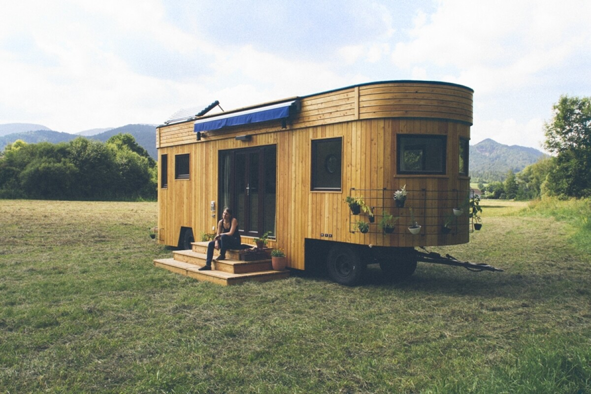 The Wohnwagon is built using natural and recycled materials
