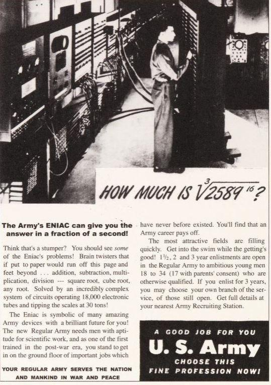 US Army recruiting advertisement featuring ENIAC