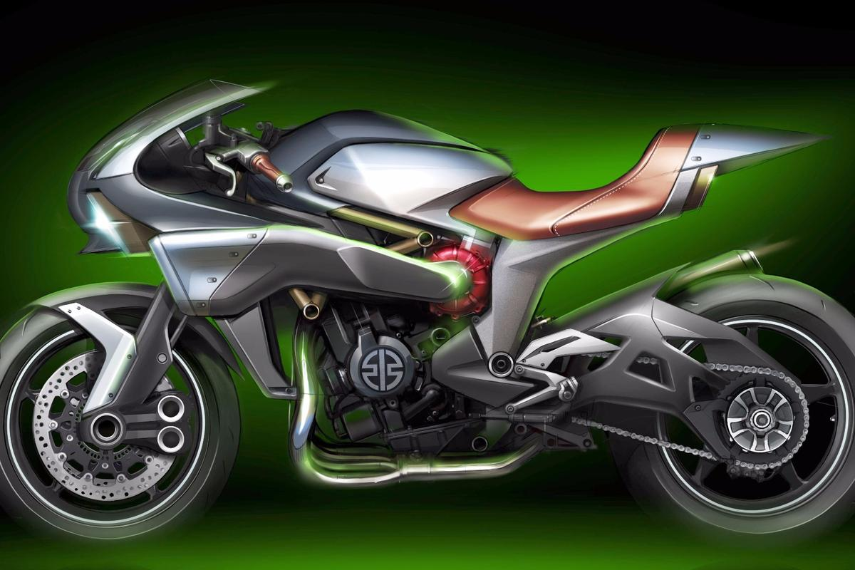 Kawasaki's sketch of the SC 01 Spirit Charger Concept, a potential new direction for the supercharged product line-up