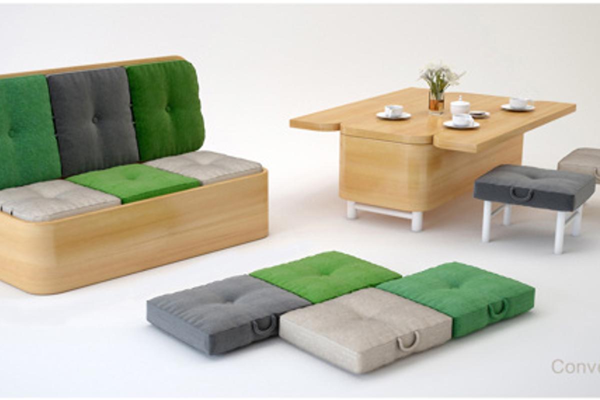 Convertible Sofa seen in both its forms (Photo: Julia Kononenko)