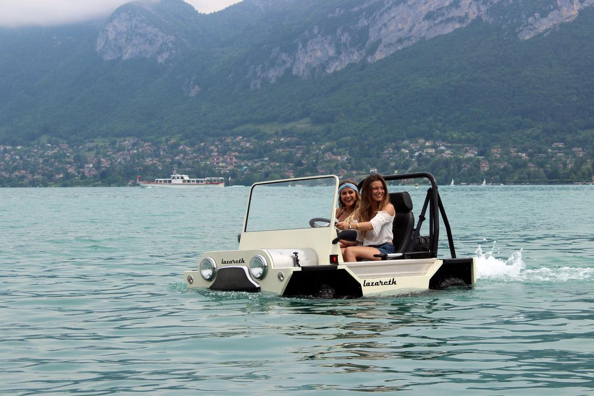 According to Lazareth, the amphibious Moke can be registered as a dinghy