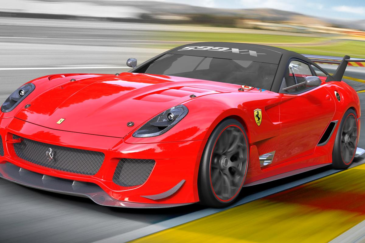 The new version of the Ferrari 599XX track car features a rear wing with electronically-rotating flaps
