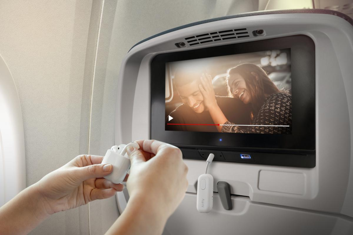 The AirFly Pro can turn in-flight entertainment systems into wireless audio streamers