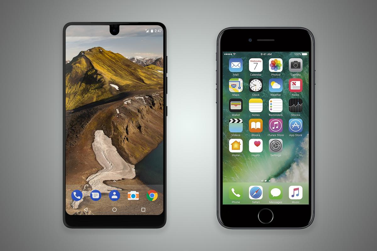 How does Andy Rubin's Essential Phone compare to the iPhone 7?
