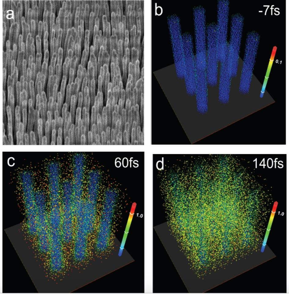 The top left image is a scanning electron microscope photo of the deuterated polyethylene nanowires; the other three images are computer simulations of those nanowires exploding after being struck with the laser blasts