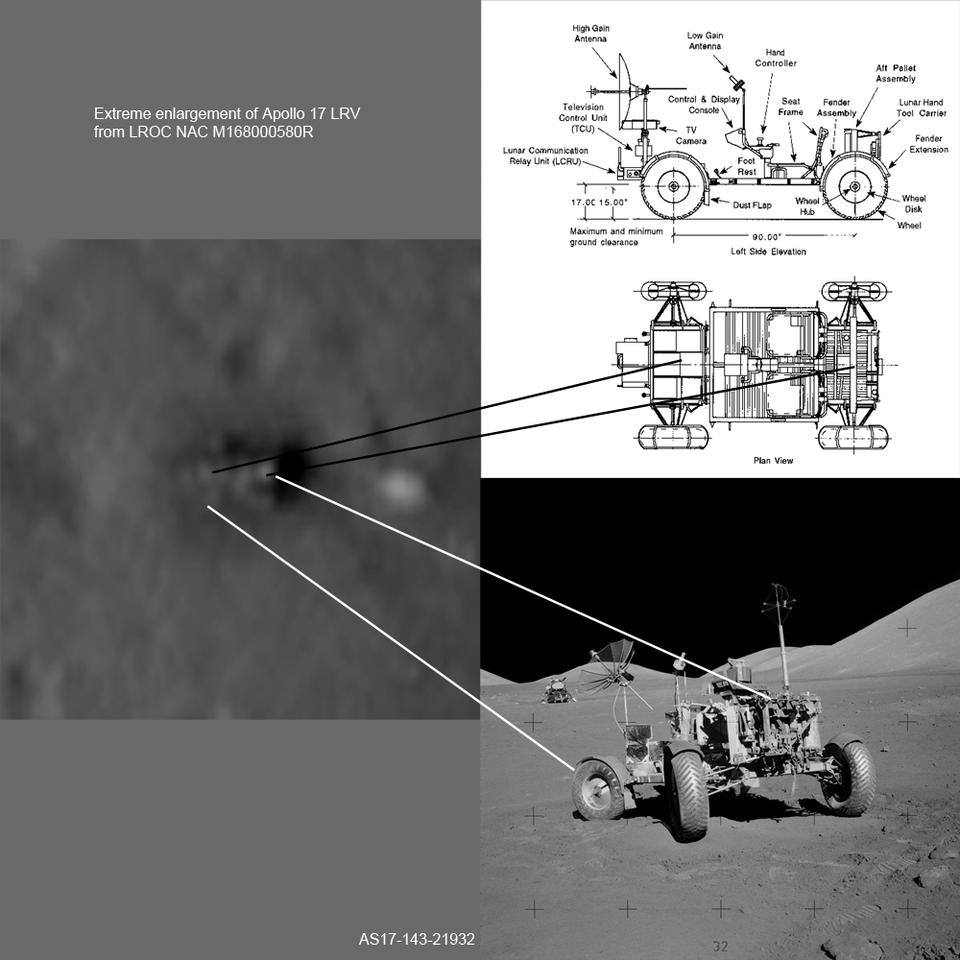 The Apollo 17 lunar rover, as seen by LROC (left) and the astronauts (right)