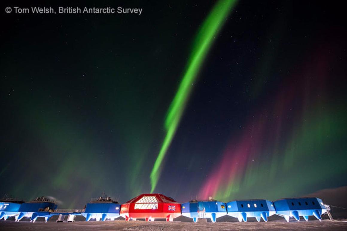 The Aurora Australisas seen from Halley VI