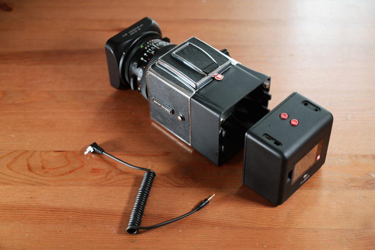 The I'm Back MF attaches to the back of old medium format cameras via an adapter, and gives them a new lease of digital life