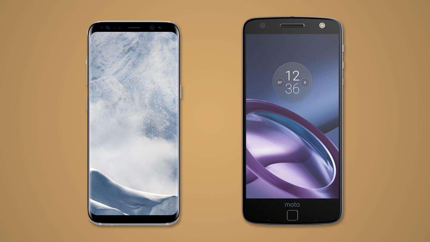 New Atlas compares the features and specs of the Samsung Galaxy S8 (left) and S8+ vs. Motorola's Moto Z