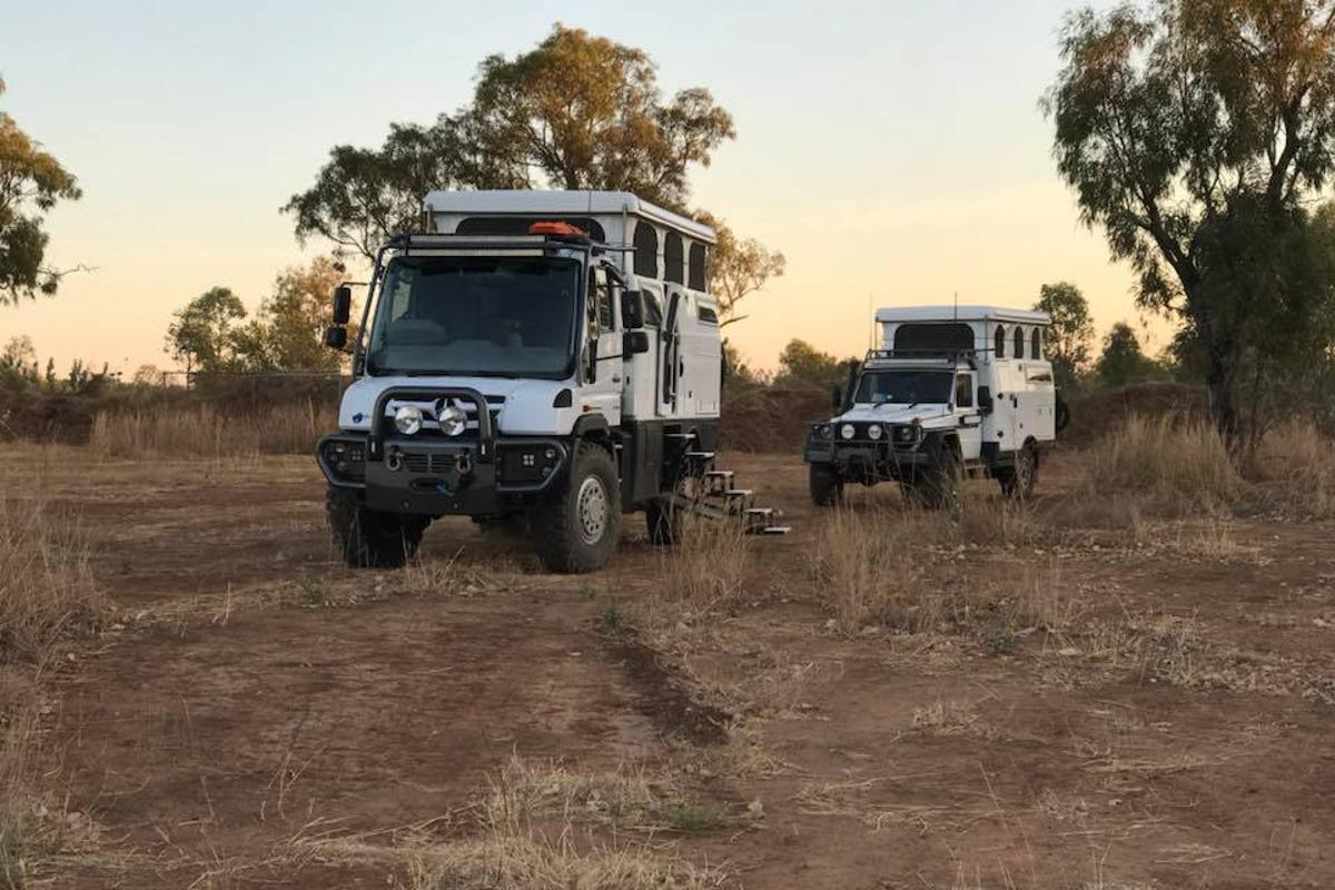 Two flavors of Mercedes EarthCruiser: The Unimog-built ExplorerXPR440 in front of the G-Class-based G-Pro Escape