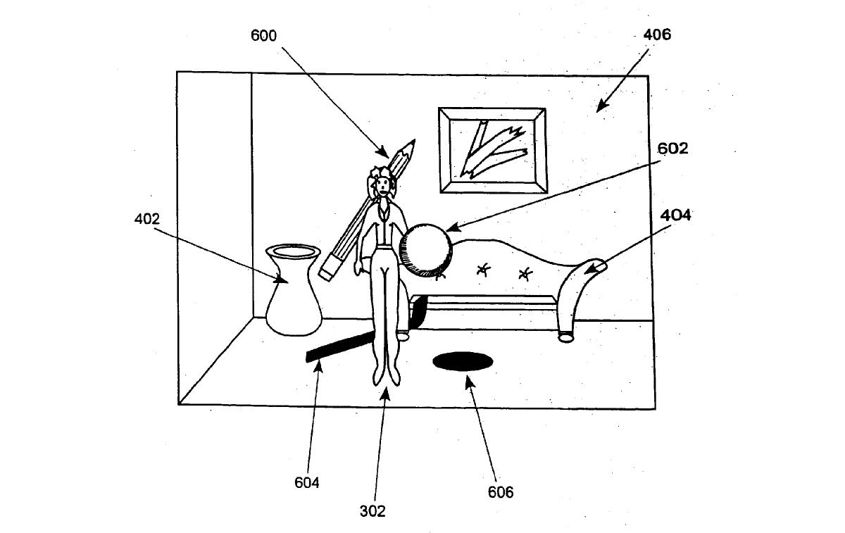 Illustration from the patent application showing how virtual objects could be inserted into a scene