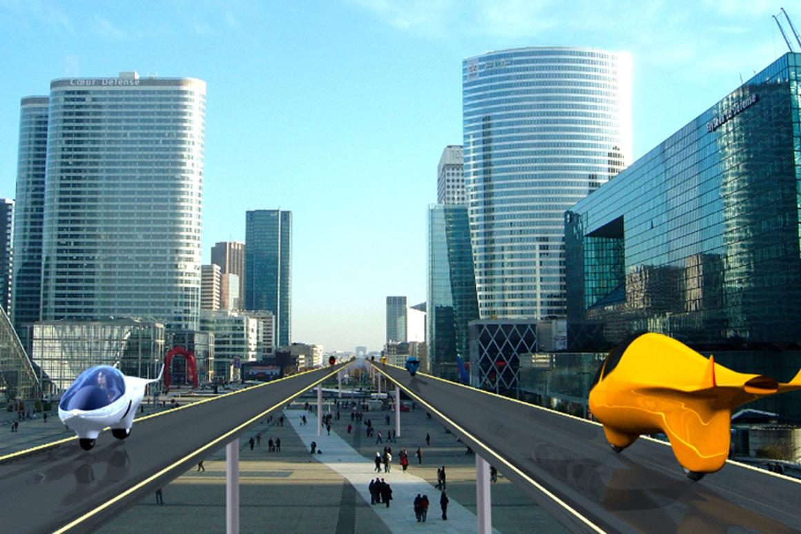 Acabion foresees elevated roadways will be needed to accommodate the streamliner's speed