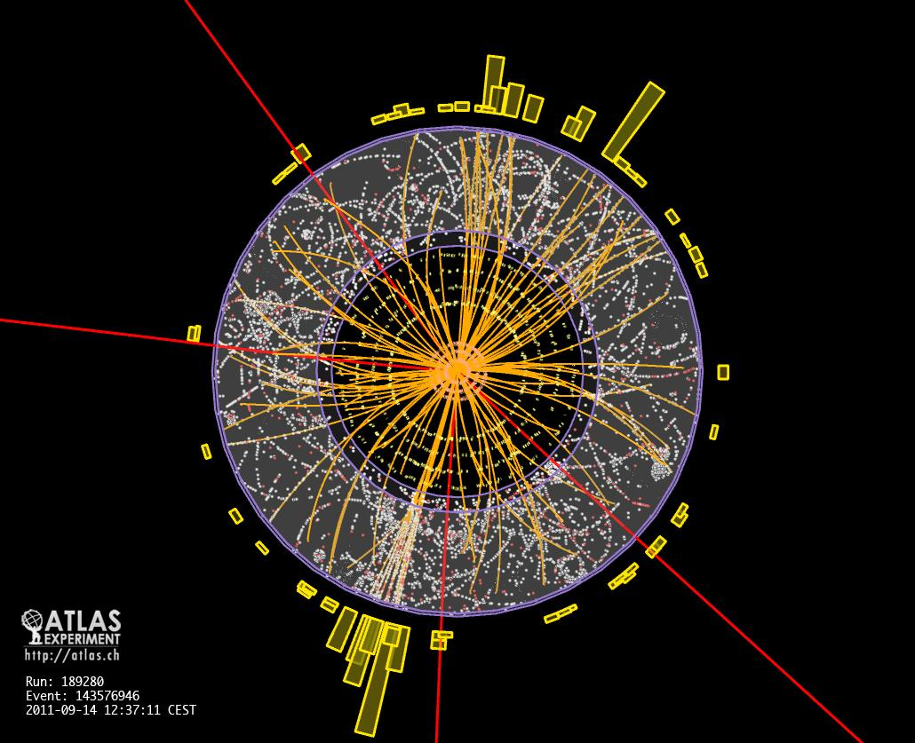 Results of a proton-proton collision with four identified muons, a possible signature of a Higgs boson (Image: CERN)