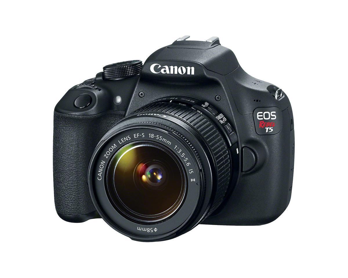 The Canon EOS Rebel T5 features an 18 megapixel APS-C (22.3 x 14.9 mm) CMOS sensor