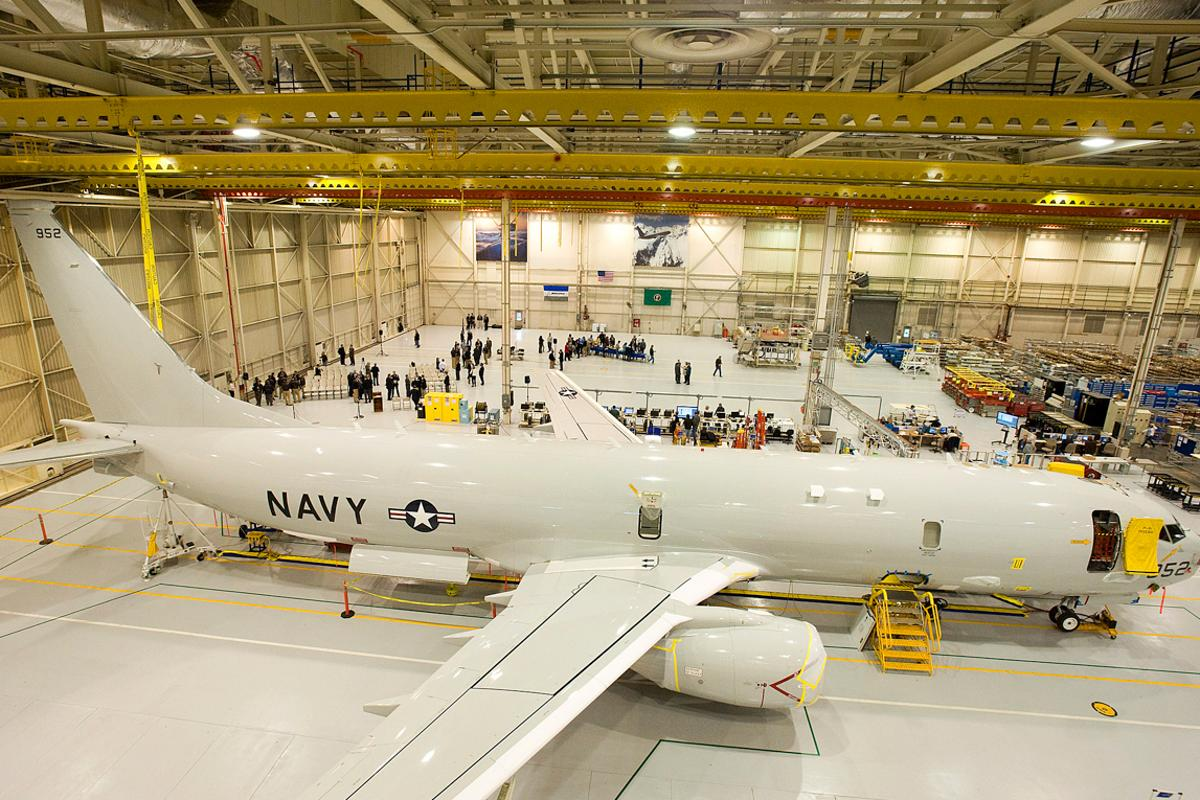 The P-8A program's fourth flight-test aircraft, T4, is the first to enter the new production facility (Image: Boeing photo)