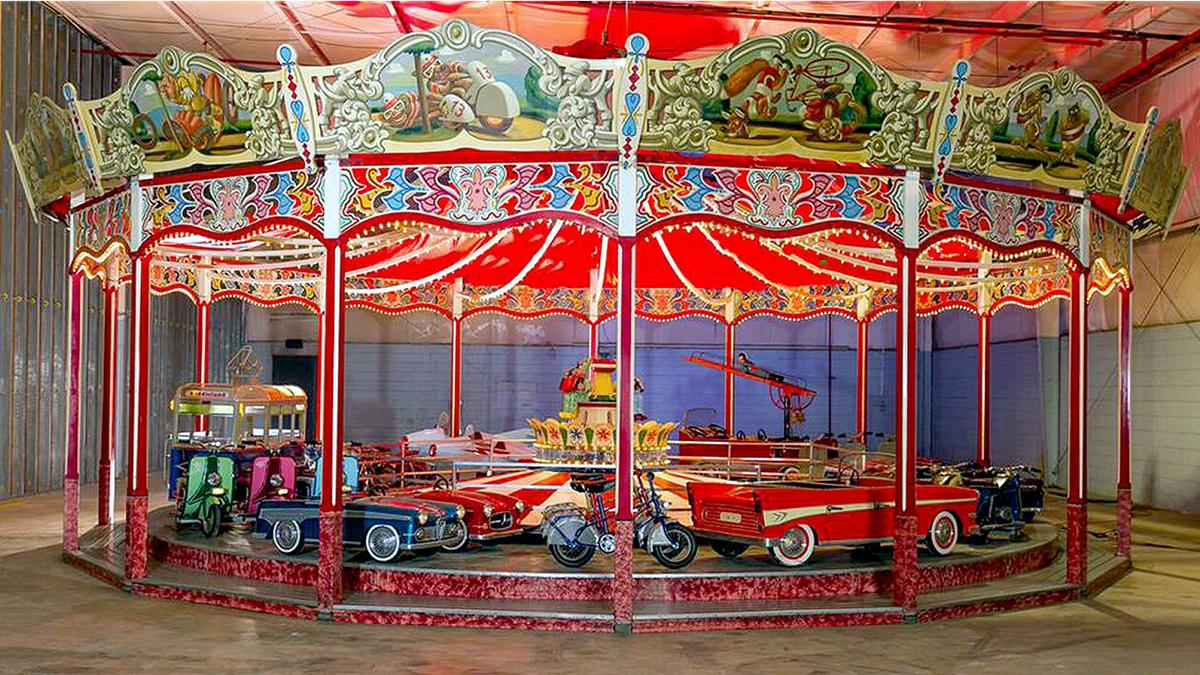 They don't make them like this any more. One of five Wilhelm Hennecke carousels imported to the United States during the 1950s, this transportation-themed carousel is claimed to be the finest surviving example. The history of Hennecke Carousels can be found here. This beautifully restored carousel sold for $557,750 at Barrett-Jackson's Scottsdale 2018 auction.
