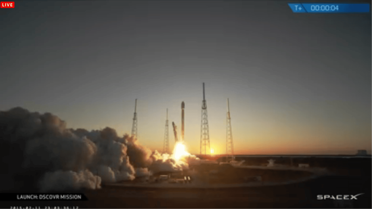 DSCOVR lifting off from Cape Canaveral (Photo: SpaceX)