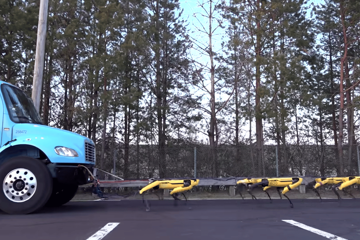 Ten SpotMini bots have been shown to have the strength to pull a small truck