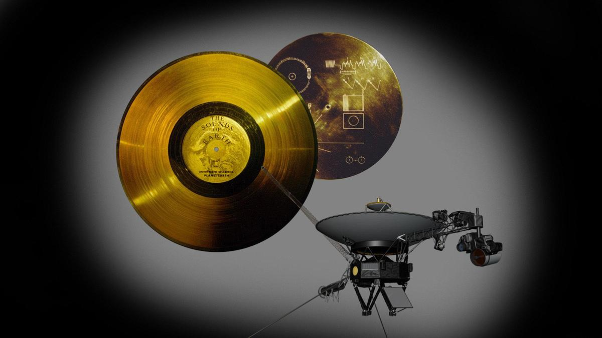 Gold-plated record carried by Voyager 1 containing greetings to any alien civilization that finds it (Image: NASA)