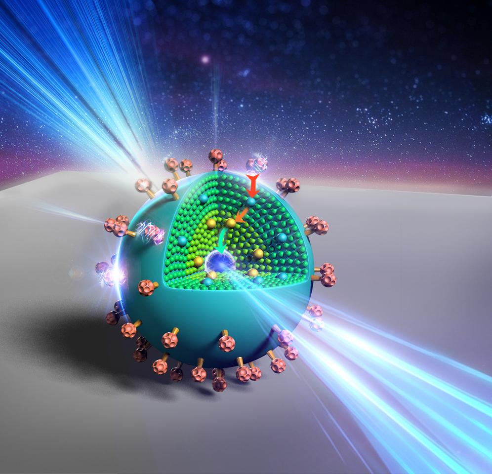 An artists impression of the new nanoparticle, which could improve solar energy harvesting, bio-imaging, and light-based security techniques