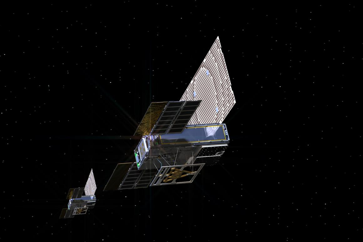 An artist's rendering of the twin Mars Cube One (MarCO) spacecraft, which have gone silent after becoming the first CubeSats to fly to another planet