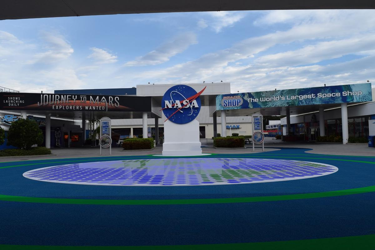 Visitors to NASA's Kennedy Space Center will soon be greeted by a huge high-tech path, made up of piezoelectric tiles that light up and harvest their own energy