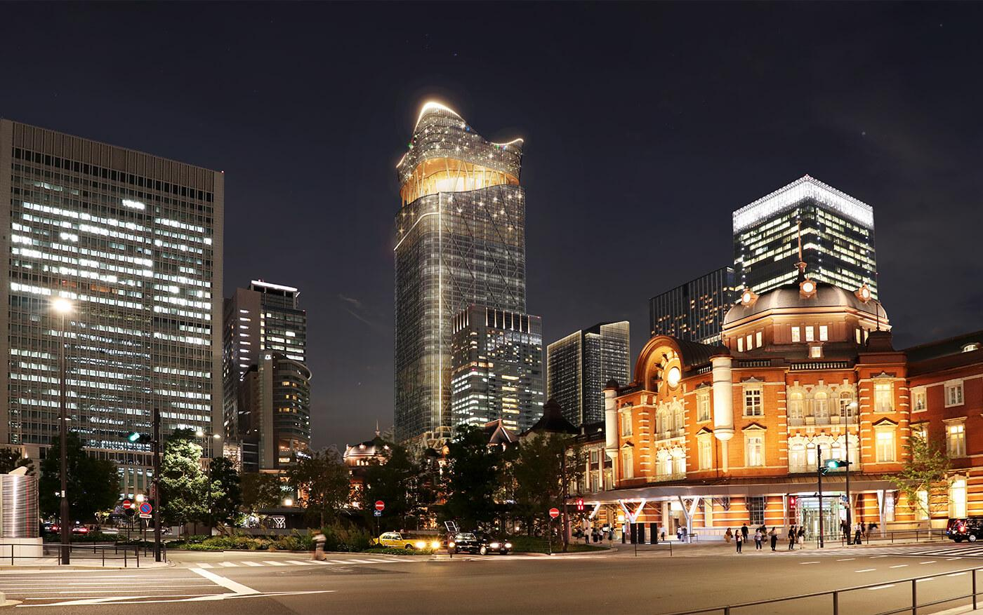 The Tokyo Torch, opening in 2027, will sit between Tokyo Station and the Nihonbashi river