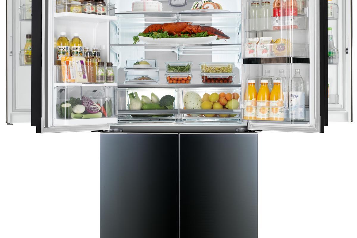 LG's new Door-in-Door Mega-Capacity refrigerator has compartments built into the frames of both doors