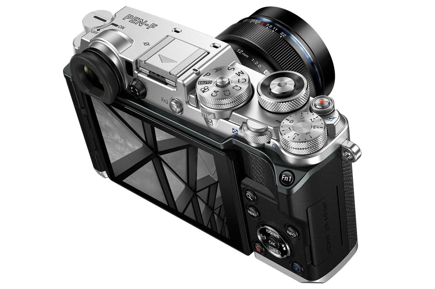 The Olympus PEN-F features metal construction, switches and dials