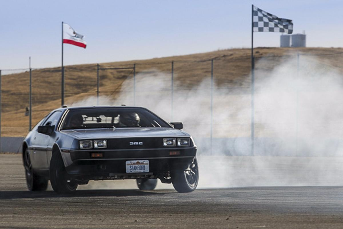 Stanford's autonomous, electric DeLorean, MARTY at Thunderhill Raceway