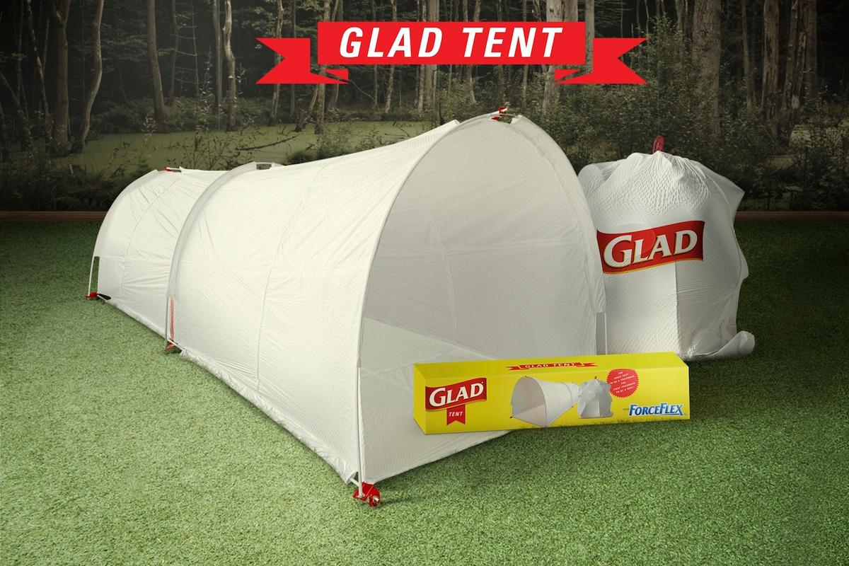 The Glad Company recently experimented with a combination tent and garbage bag, known as the Glad Tent