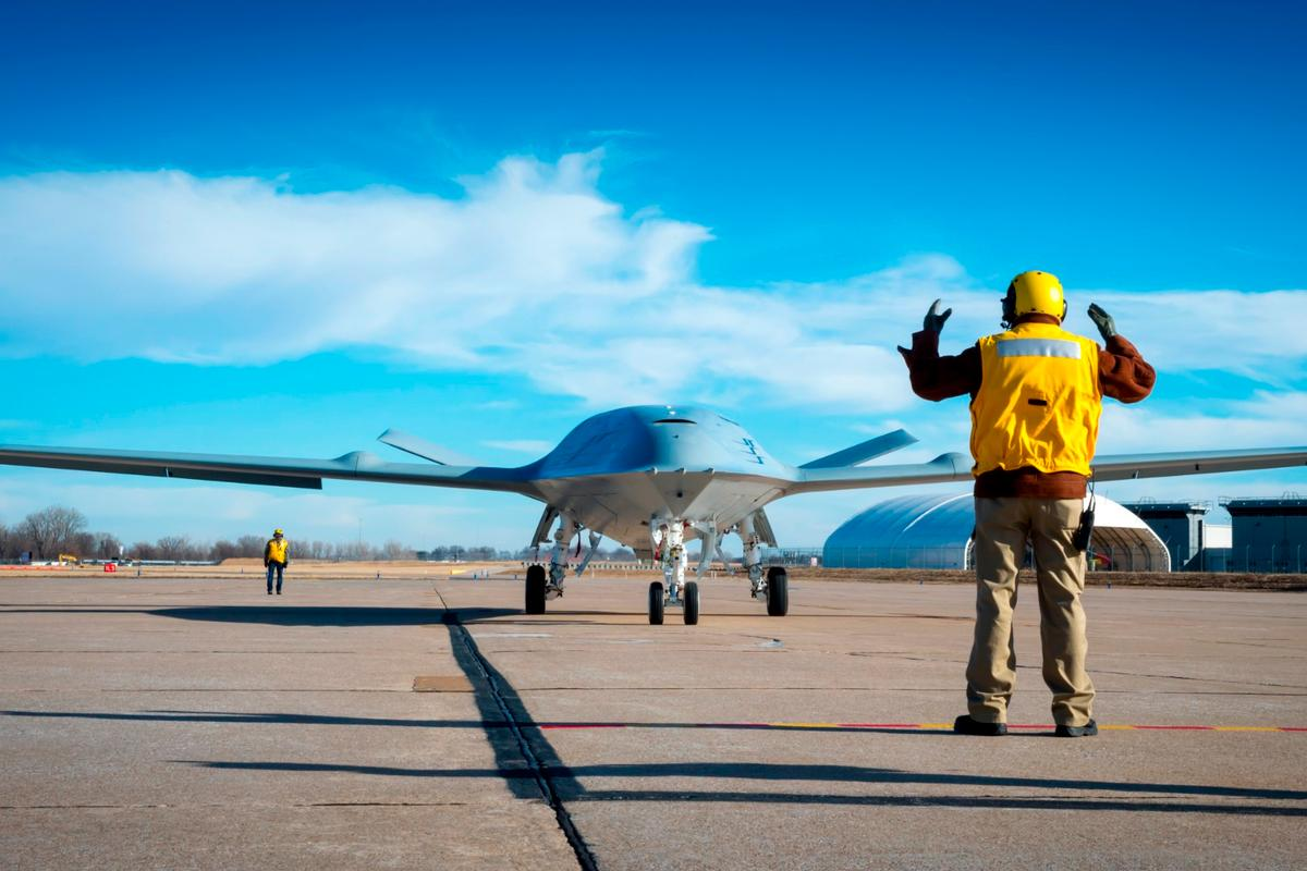 Boeing's MQ-25 unmanned aerial refueler, known as T1, is currently being tested at Boeing's St. Louis site