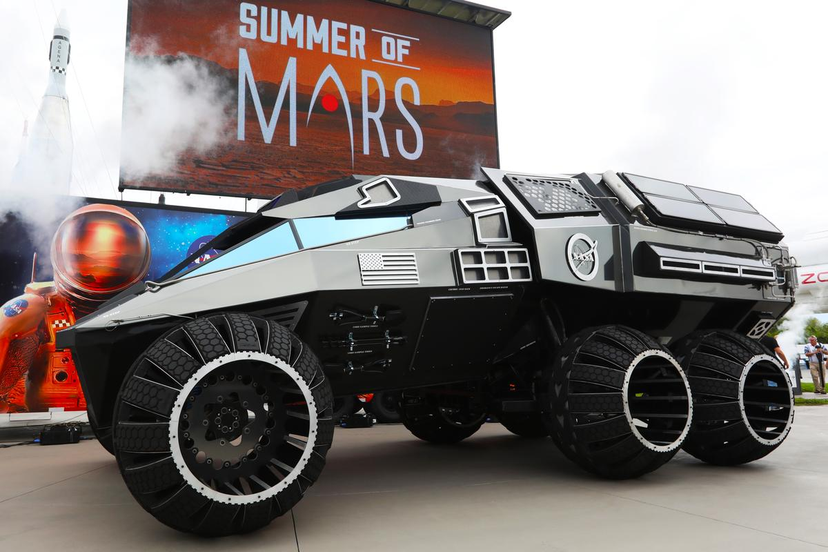 The Mars rover concept vehicle makes its debut at the Kennedy Space Center Visitor Complex
