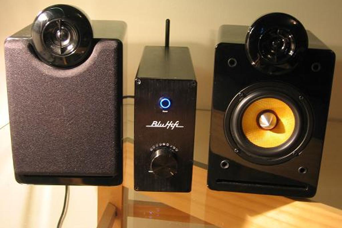 The BluAmp Bluetooth amplifier, with BluHifi bookshelf speakers