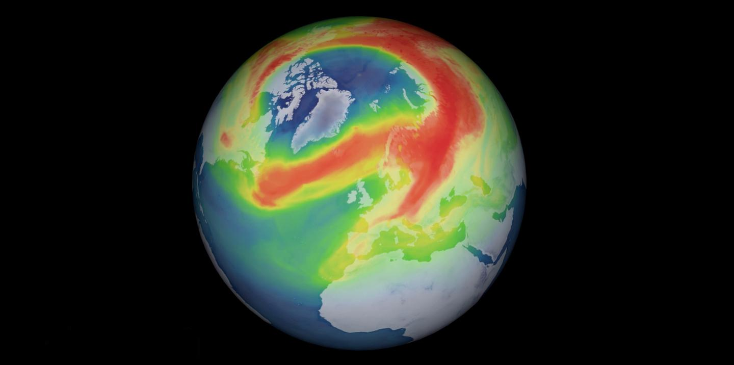 A graphical representation of a hole in the ozone layer over the Arctic