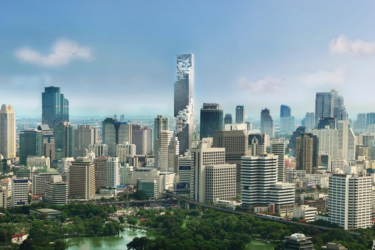 The MahaNakhon covers an area of 14,950 sq m (161,000 sq ft)