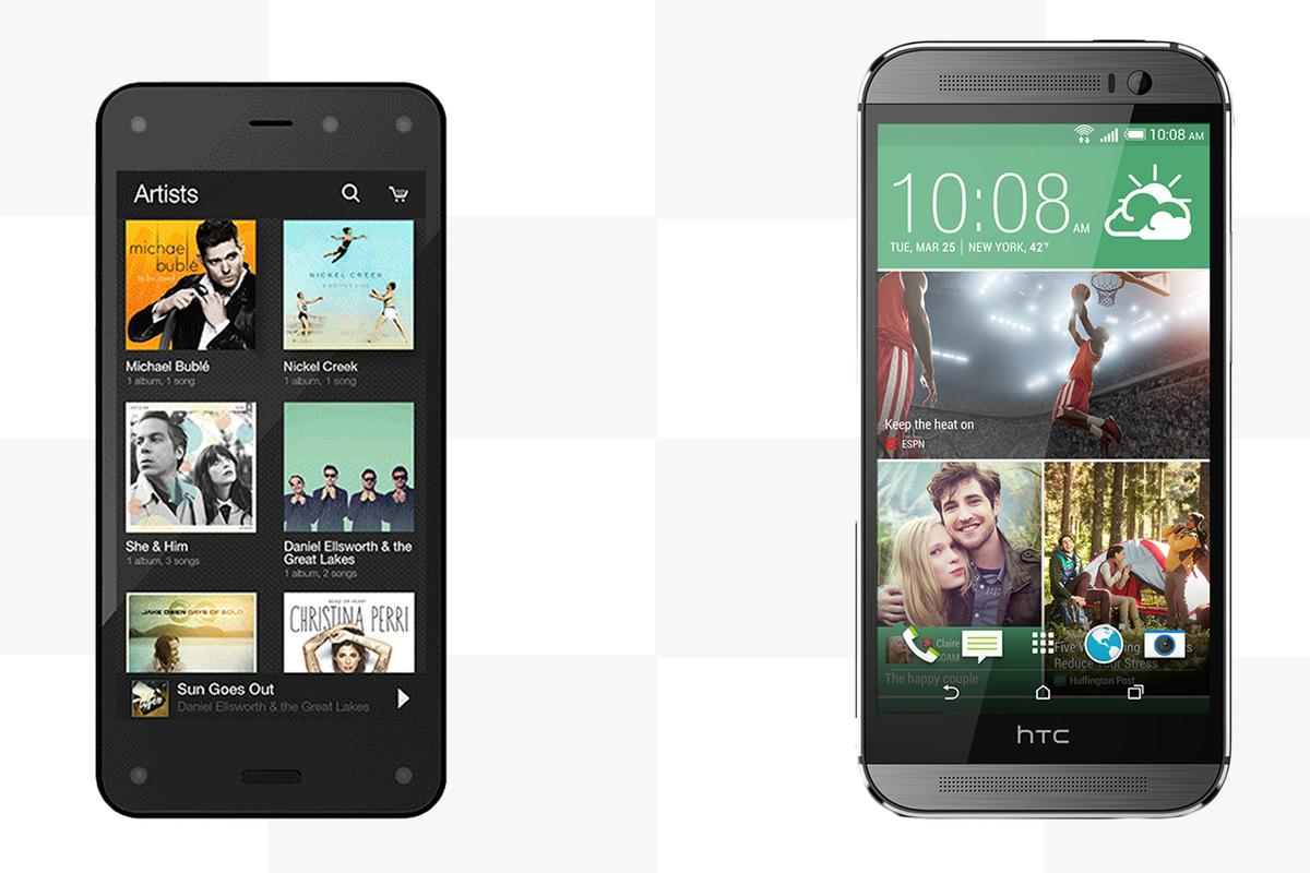 Gizmag compares the features and specs of the Amazon Fire Phone and HTC One (M8)