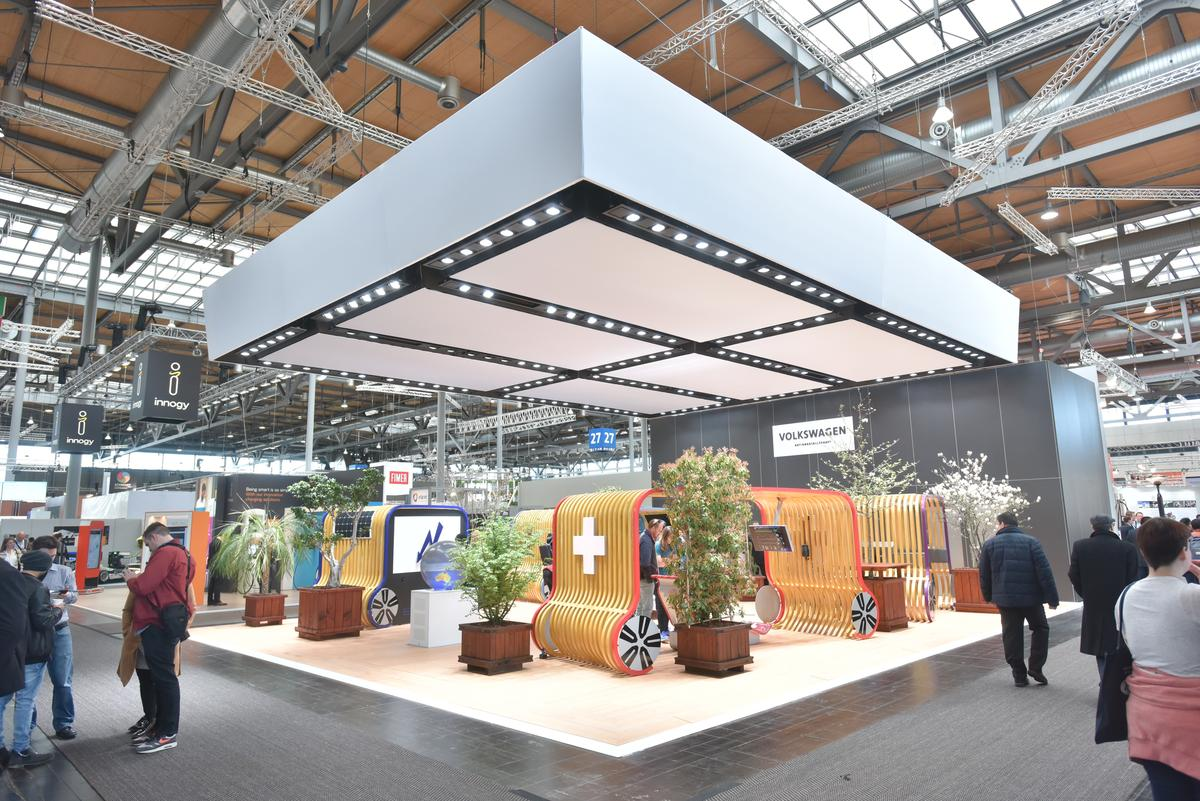 Volkswagen's pods are a focus of its presence at Hannover