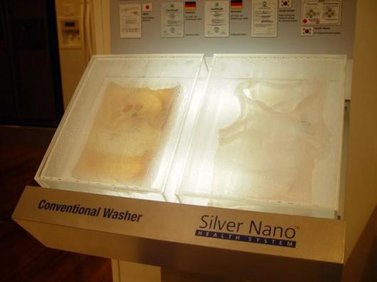 Part of the demonstration involved the display of clothes that had been washed in a non-Samsung washing machine and identical clothes that had been washed in the Silver-nano system. They'd been sealed in their own boxes for a considerable period and ther