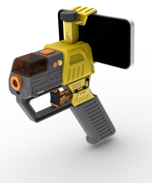 The AppTag Laser Blaster attachment allows AR first-person shooter gameplay with friends on any smartphone