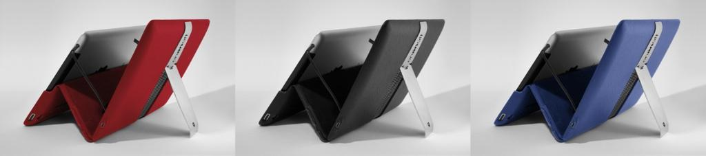 The Sound Cover can fold to sit an iPad upright for viewing videos