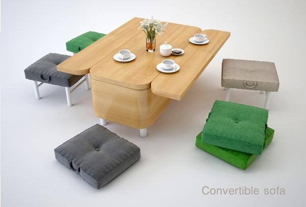 Fabulous Convertible Sofa Transforms Into A Dining Table And Chairs Ncnpc Chair Design For Home Ncnpcorg