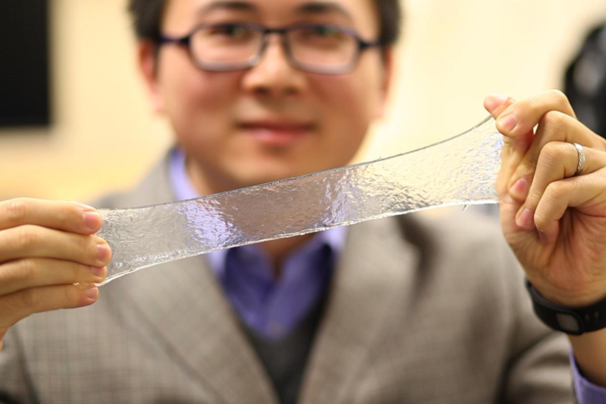 The hydrogel stretches and flexes