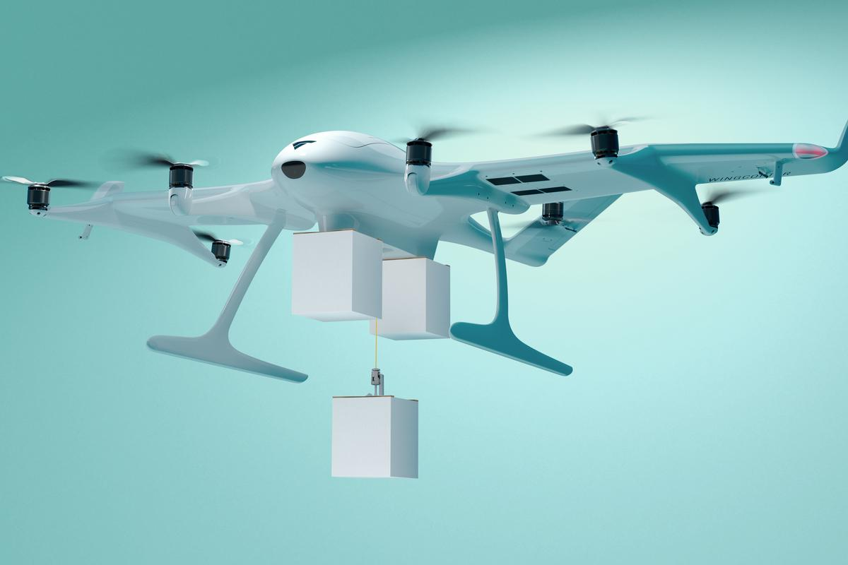 The Wingcopter 198 can carry three packages, and drop off at multiple destinations in one flight