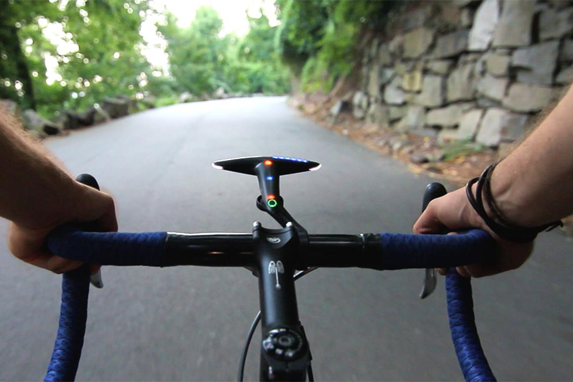 The Hammerhead is a bicycle navigation device that uses LEDs to indicate where riders should turn