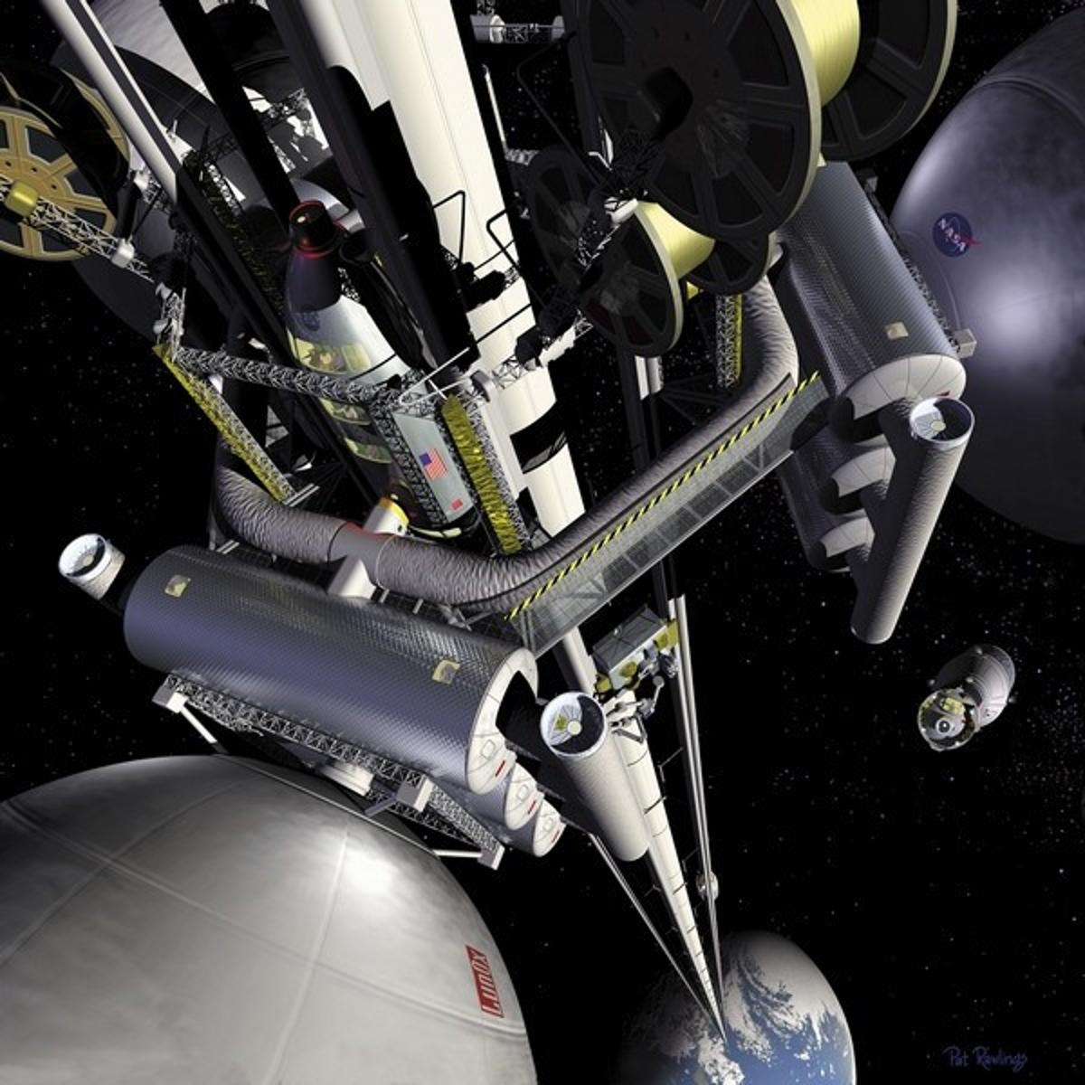 A NASA artist's rendition of a space elevator (Image: NASA)