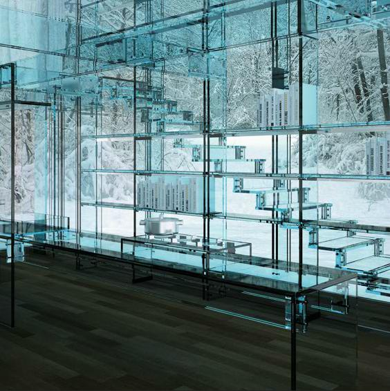 The staircase of Carlo Santambrogio's glass house
